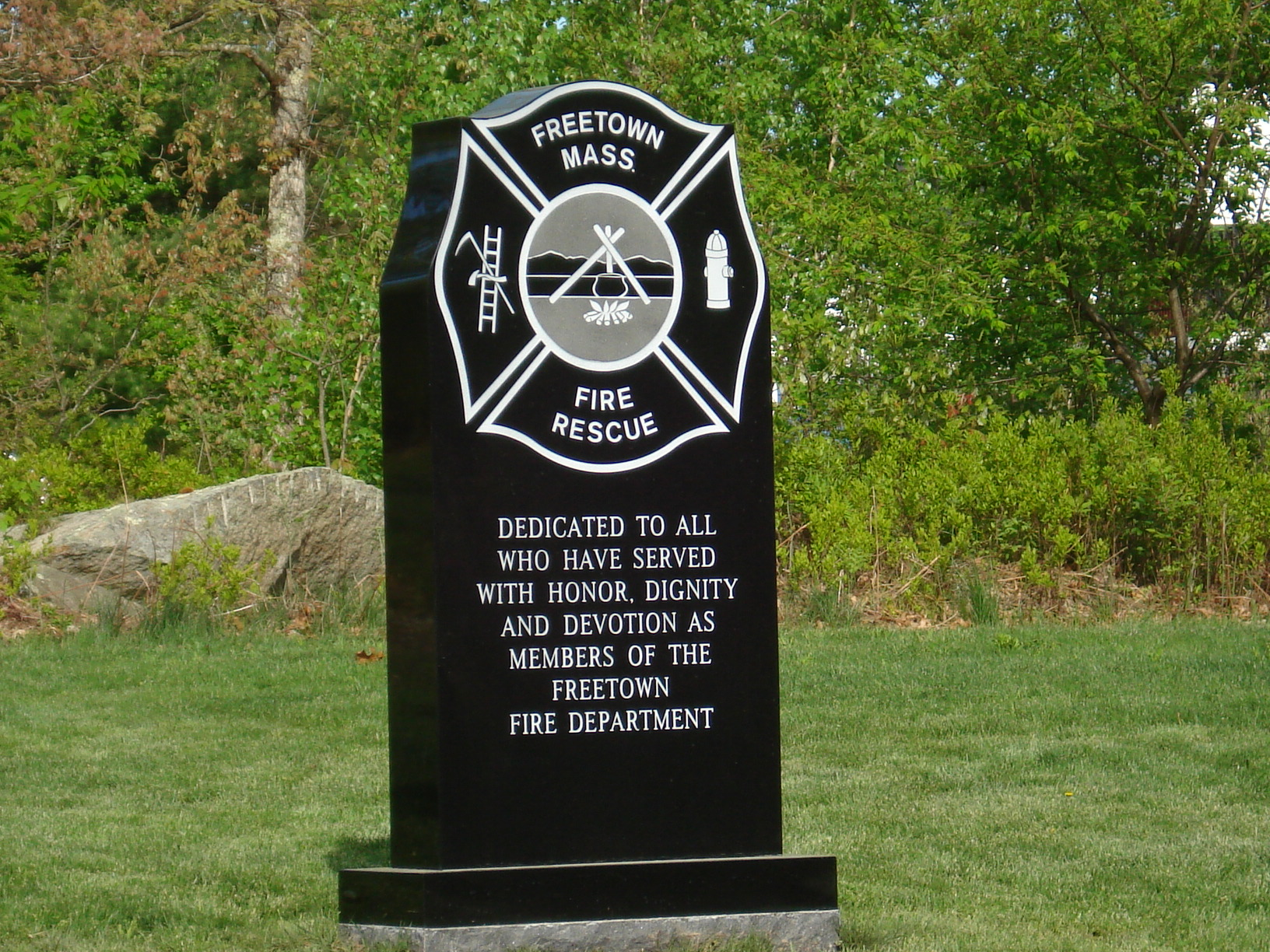 A memorial to those who served as part of the fire dept.