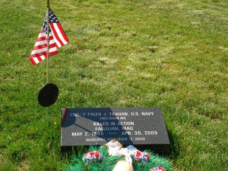 A memorial to Petty Officer Trahan